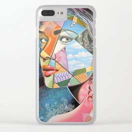 Abstract Art Portrait Female Woman Painting ... Sincerely Clear iPhone Case