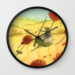 Flying Flowers Wall Clock