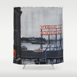 Pike Place Market - Black & White & Neon -Seattle Washginton Shower Curtain