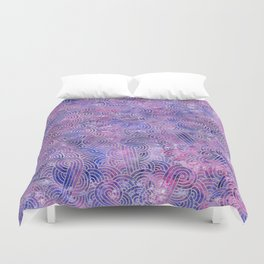 Purple and faux silver swirls doodles Duvet Cover