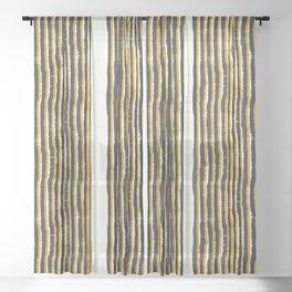 Zen Stripe Block Print Mustard Sheer Curtain