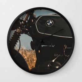 Vintage motorcycle photo, old motorbike, deep of field, bokeh effect, hasselblad Wall Clock