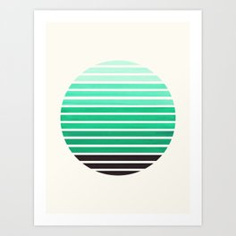 Teal Green Mid Century Modern Minimalist Scandinavian Colorful Stripes Geometric Pattern Round Circl Art Print