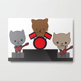 Kitty Cat Kawaii Band Metal Print