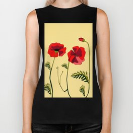 Adorable Red Poppies Unfold Biker Tank