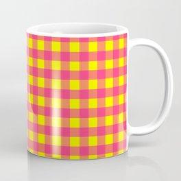 Yellow and Pink Buffalo Plaid Pattern Coffee Mug