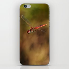 Red dragonfly flying iPhone Skin