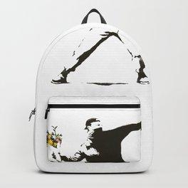 Banksy - Man Throwing Flowers - Antifa vs Police Manifestation Design For Men, Women, Poster Backpack