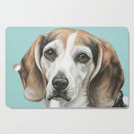 Sweet Beagle Painting, Distinguished Older Beagle Portrait Cutting Board