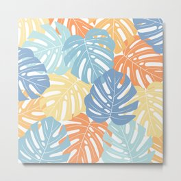 Monstera leaves Colorful Jungle leaves Palm leaves Tropical art Metal Print