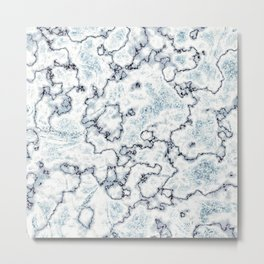 Metallic Blue and White Marbled Texture Metal Print