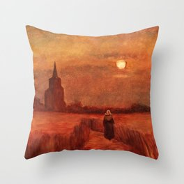 The Old Tower in the Fields by Vincent van Gogh Throw Pillow