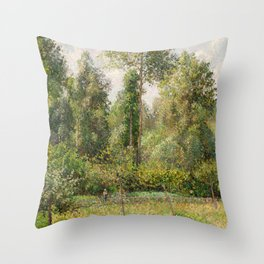 Camille Pissarro - Poplars, Éragny (1895) Throw Pillow