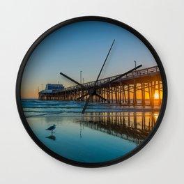 Newport Sunset Seagulls Wall Clock