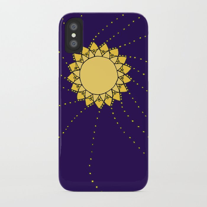 Celestial Swirling Sun Boho Mandala Hand-drawn Illustration iPhone Case