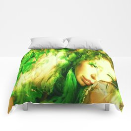 Fairy feather head dress fairy goddess green feathers ,WOOD NYMPH Comforters