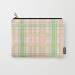 Peach Mint Gingham Design Carry-All Pouch
