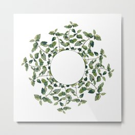 Circular ornament of lemon balm twigs and leaves, isolated on white.  Metal Print