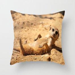 Meerkat Suricat suricatta Sunbathing #decor #society6 Throw Pillow