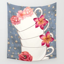 Floral Coffee Cups Wall Tapestry