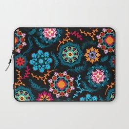 Suzani Inspired Pattern on Black Laptop Sleeve