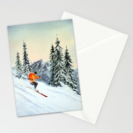 Skiing The Clear Leader Stationery Cards