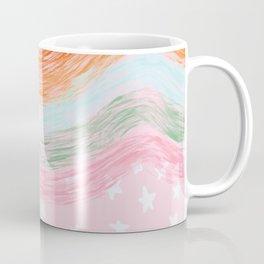 Stars & Rainbow Paint Strokes Pattern Coffee Mug