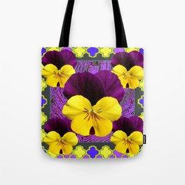 Yellow-Purple Violas Pattern Art Tote Bag