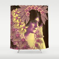 wedding Shower Curtains featuring GARDEN WEDDING by Julia Lillard Art