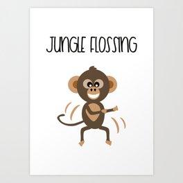 Cute Animal Monkey Jungle Flossing   Art Print
