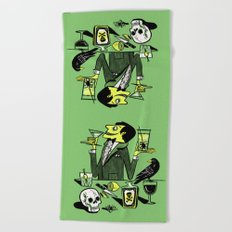 Drinks With The Mad Scientist Next Door Beach Towel