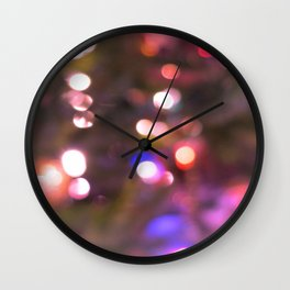 Colored Lights, Bokeh, White, Blue, Pink, Wall Clock