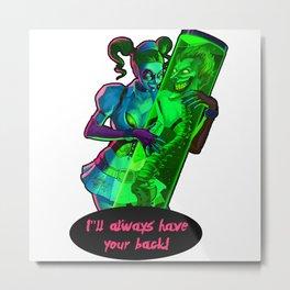 Harley Quinn holding The Joker Metal Print