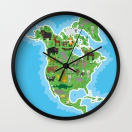 Map of North America with Animals bison bat manatee fox elk horse wolf partridge seal Polar bear Wall Clock