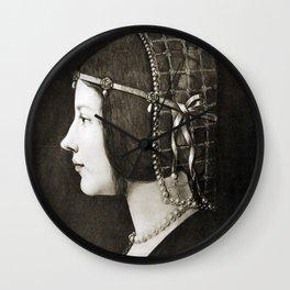 Bianca Sforza by Leonardo da Vinci Wall Clock