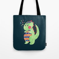 trex Tote Bags featuring Green Dino by haidishabrina