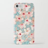bedding iPhone & iPod Cases featuring Shabby Chic Hibiscus Patchwork Pattern in Peach & Mint by micklyn