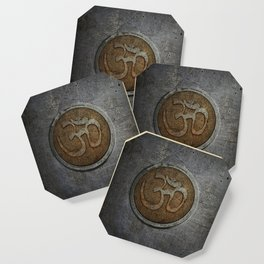 The sound of the Universe. Gold Ohm Sign On Stone Coaster