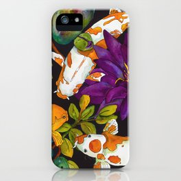 Purple Lily and Koi iPhone Case