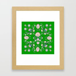 Folk Flowers in Green and Pink Framed Art Print