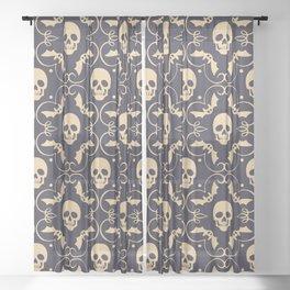 Happy halloween skull pattern Sheer Curtain