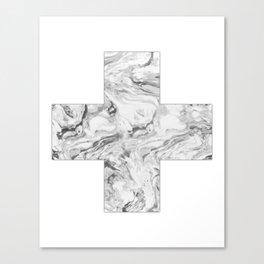 Swiss cross marble black & white Canvas Print