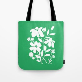 Green and White Flower Bouquet, Minimal Flowers, Simple Flower Design, Modern Daisy Flower Tote Bag