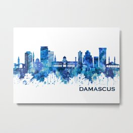Damascus Syria Skyline Blue Metal Print