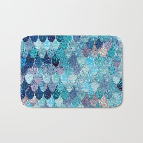 SUMMER MERMAID DARK TEAL Bath Mat
