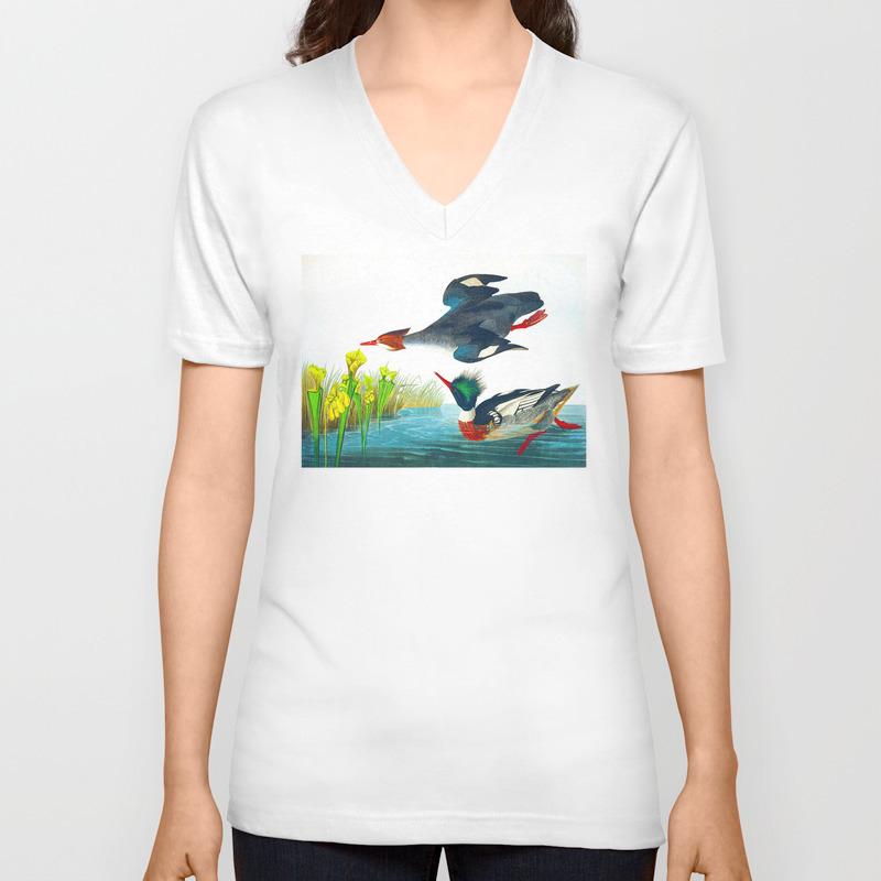 Red-Breasted Merganser Bird Unisex V-Neck T-shirt by enshape (VNT6419407) photo