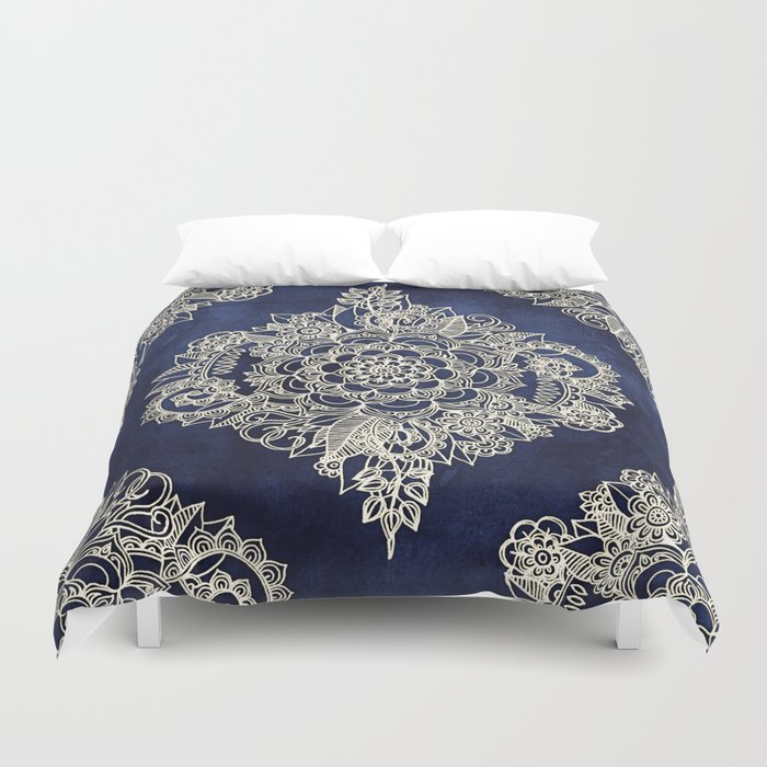 Cream Fl Moroccan Pattern On Deep Indigo Ink Duvet Cover