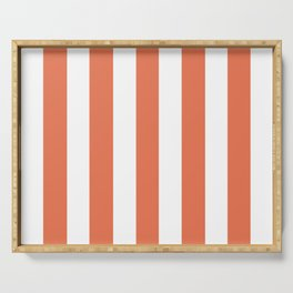 Burnt sienna pink - solid color - white vertical lines pattern Serving Tray