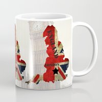 england Mugs featuring ENGLAND by mark ashkenazi