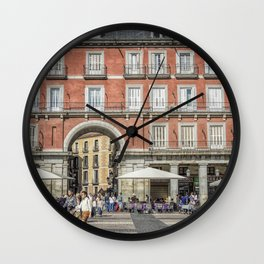 Relaxing cup in Plaza Mayor, Madrid Wall Clock